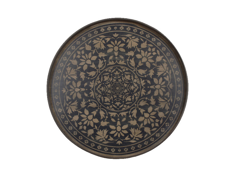 ETHNICRAFT Notremonde Black Marrakech Round Wood Tray 노트르몽 블랙 마라케시 원형 트레이