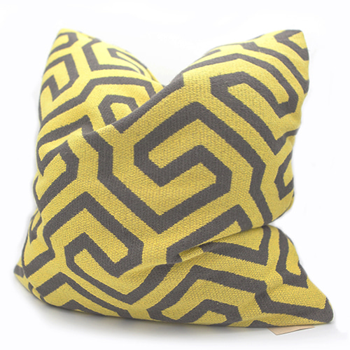Jim Thompson Yellow & Grey Pattern Cushion 짐탐슨 패턴 쿠션