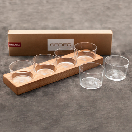 Zacc collection by SEDECWood Base + Pordamsa Glass(6pcs) SET원목 받침 + 포르담사 유리잔(6개) 세트